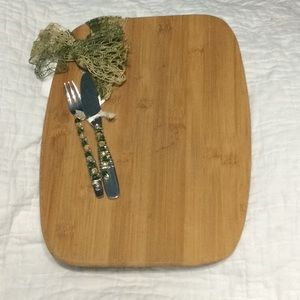 Bamboo Serving tray with decorative knife and fork